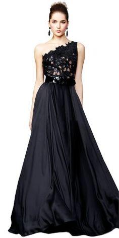 #FashionBug Black Plus Size One Shoulder Lace Long #Cocktail Evening #Dress . www.fashionbug.us