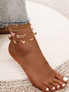 3pcs Butterfly Charm Chain Anklet Ankle Jewelry, Ear Jewelry, Ankle Bracelets, Cute Jewelry, Jewelry Accessories, Jewelry Design, Jewlery, Body Jewelry Chains, Waist Jewelry
