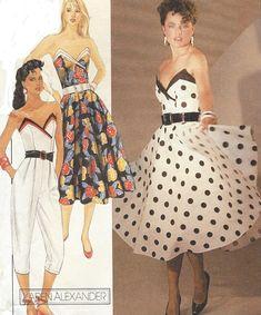 1980s Karen Alexander Womens Strapless Dress Circular Skirt or Strapless Jumpsuit McCalls Sewing Pattern 8633 Size 14 Bust 36 FF