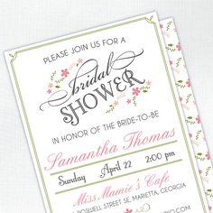 Vintage Floral Bridal Shower Invitation  by tickledpeachstudio