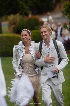KathleenCrowleyCouture - Ka Katherine June Amorastreya's wedding. Jacket a collaboration with Black Lotus Clothing