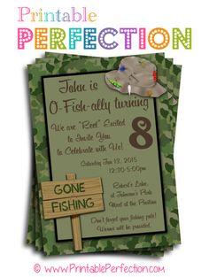 Birthday Party Invitation - O-Fish-Ally - Fishing - Vertical