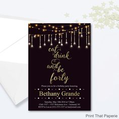 Printable 40th Fairy lights, sparkle Birthday Invitation  Invite your guests to your milestone party with our Personalized Custom Invite. Download and print! Its that easy. Can be changed to suit any age.  Single invite jpg and PDF Printing two invites per page supplied. Downloadable files are in Non editable. We recommend all our designs are printed on white card stock US Standard 5 x 7 You can print from home or choose to find a local printing service.  Listing Includes: :: Custom party…