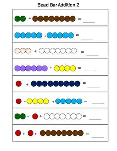 This is a very basic bead bar addition activity. I print & laminate so these task cards last in my Lower Elementary classroom. I usually have my little ones work with the bead bars to solve these very simple addition task cards with all sums equaling ten. This set includes nine addition problems each with two or three addends. The colors are the traditional Montessori bead bar colors.