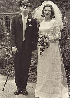 Stephen Hawking with strong cane swag and Jane Wilde on their wedding day. July 14th, 1965 : OldSchoolCool