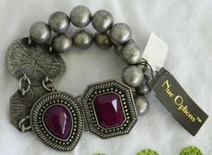 NEW Nue Options Silver Tone Pewter Stretch Bracelet Beaded Luctie Stone & Metal  #NueOptions #Beaded