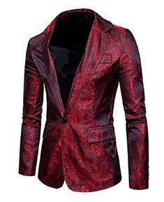 f2816bfb1244f Mens Lapel 1 Button Solid Print Fashion Fit Blazer Suit Coat Tops Blazer  Fashion