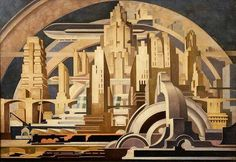 'Cityscape'... Painting by Tullio Crole. 1939.