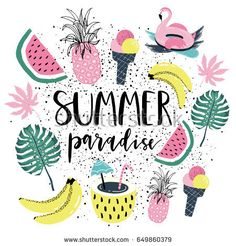 Summer paradise Poster with banana, watermelon, pineapple and palm leaves. Vector illustration