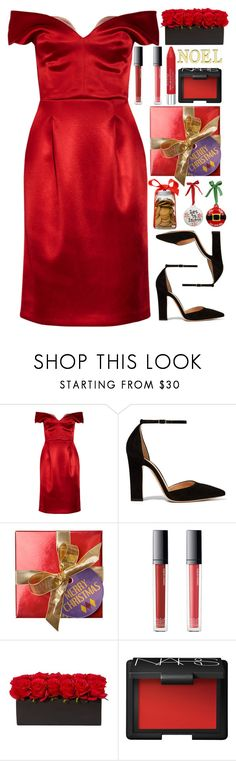"""Jingle all the way"" by annaclaraalvez ❤ liked on Polyvore featuring Jonathan Saunders, Gianvito Rossi, Make, NARS Cosmetics, Isadora, Laura Ashley, Christmas, NewYears, red and dress"
