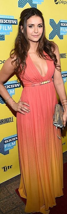 384dad20234 Who made Nina Dobrev s pink and orange ombre gown  Girls Premiere