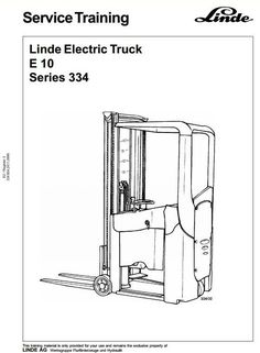 Original Illustrated Factory Workshop Service Manual for Linde Electric Forklift Truck Type 334.Original factory manuals for Linde Forklift Trucks, contains high quality images, circuit diagrams and instructions to help you to operate and repair your truckCovered models:  E10Format: PDF, 150 Pa