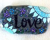 Happy Rock - LOVE - Hand-Painted River Rock - blue flowers