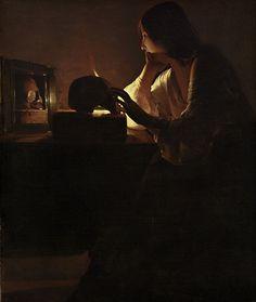 Dans la Madeleine au miroir (1640), la Sainte est encore entourée d'un décor somptueux, elle est encore drapée des oripeaux de la volupté terrestre. Ici le décor est moins riche mais il n'est pas encore monacal comme dans la Madeleine a la flamme filante. Ce tableau exprime donc les derniers doutes de la sainte tiraillée entre son passé et l'appel de la vie mystique.Témoin de ces dernières interrogation, c'est le reflet du crâne que Madeleine contemple.