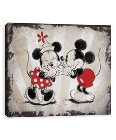 Mickey & Minnie Laughing Vintage Wrapped Canvas