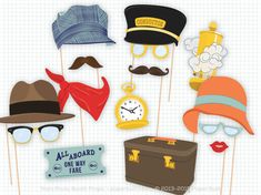 All aboard! Get this printable PDF package of train-themed photo booth props before the train leaves the station. There are 15 quirky props in Trains Birthday Party, Train Party, 2nd Birthday, Birthday Parties, Birthday Ideas, Photos Booth, Photo Booth Props, Props Photobooth, Zug Party