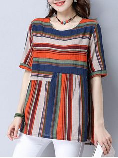AdoreWe - Fashionmia Colorful Striped Short Sleeve T-Shirt - AdoreWe.com