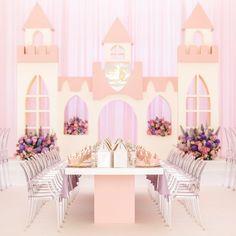 Pastel Princess Party - Oh It's Perfect 1st Birthday Girl Decorations, Princess Party Decorations, Princess Theme Party, Disney Princess Party, Flower Decorations, Prince Birthday, Baby Girl Birthday, 5th Birthday, Birthday Cake