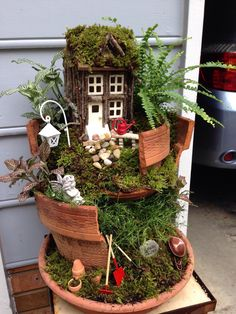 My first attempt at a broken pot fairy garden. I think it turned out great!