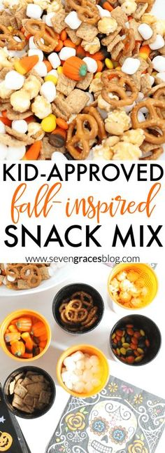 [original_tittle] – P Martinez [pin_tittle] Kid-approved, fall-inspired snack mix. The perfect mix of salty and sweet. Perfect for party mix for Dia de los Muertos, Halloween, or any festive fall party. Kids Snack Mix, Fall Snack Mixes, Snack Mix Recipes, Fall Snacks, Snacks Für Party, Fall Treats, Fall Recipes, Holiday Recipes, Classroom Snacks