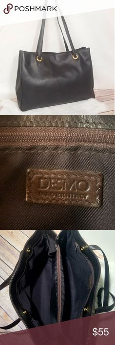 Desmo Dark Chocolate Italian Leather Bag Beautiful dark brown leather bag, double straps,  gold hardware,  made in Italy.  Two zip pockets and two large compartments inside. Clean! Desmo Bags Shoulder Bags