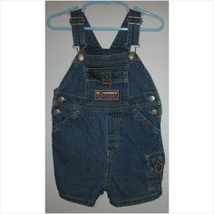 Infant boys pocketed bib jean shorts, Size-24 Months