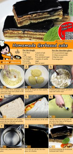 Homemade Gerbeaud cake recipe with video. Detailed steps on how to prepare this easy and simple dessert recipe! Puff And Pie, Cookie Recipes, Dessert Recipes, Gateaux Cake, Hungarian Recipes, Baking And Pastry, Christmas Desserts, Christmas Tree, No Bake Cake