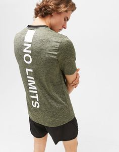 Technical sports T-shirt with 'No Limits' print - Bershka  #tshirt #nolimits #text #sport #technical #man #bershka