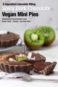 Spicy Dark Chocolate Mini Pies. These dark chocolate no-bake mini pies are the perfect no bake dessert, easy to make with a creamy 3-ingredient fudgy filling and a crust that tastes like a chocolate cookie. #veganpie #chocolatepie #minipie #holidaypie #chocolatetart #cardamom #plantbasedholiday