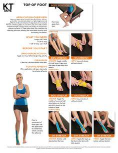 Pijn aan de wreef of bovenkant voet? Zie hier onze printbare aanwijzingen! #kttapebenelux #kttape