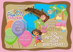 5x7 Custom Dora Map Explorer Birthday Party Invitation Digital File