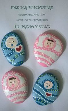Baby rocks Baby Painting, Pebble Painting, Pebble Art, Stone Painting, Stone Crafts, Rock Crafts, Hobbies And Crafts, Arts And Crafts, Painted Rocks