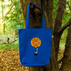 Giraffes, First World, Organic Cotton, Reusable Tote Bags, Bright, Adventure, Chic, Blue, Accessories
