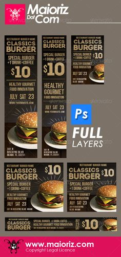 Classic Burger Banners Ads Template PSD | Buy and Download: http://graphicriver.net/item/classic-burger-banners-ads/6654983?WT.ac=category_thumb&WT.z_author=maioriz&ref=ksioks