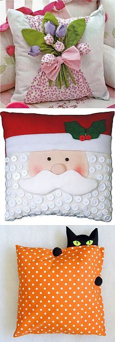 59 Trendy sewing crafts for christmas pin cushions Cute Pillows, Diy Pillows, Decorative Pillows, Throw Pillows, Pillow Ideas, Hobbies And Crafts, Diy And Crafts, Cushion Covers, Pillow Covers