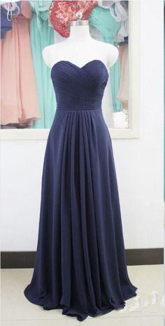 Long Navy Chiffon Evening Dress Formal Occasion Dress