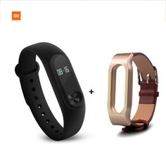 NEW Xiaomi Display Touch Screen Mi Band 2 Smart Wristband w/ Heart Rate Monitor - Black + Brown - Free Shipping - Volumerate