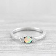 7510daf4f9cd8f Opal and diamond diamond engagement ring 3 stone diamond ring handmade in  rose/white/yellow gold or platinum