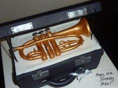 Music instrument cake Trumpet Foam covered lid
