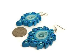 Peacock earrings  Quilling jewelry  Peacock jewelry  Paper