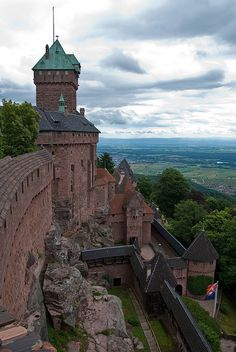 Haut-Koenigsbourg Castle, Orschwiller, Alsace, France was used by successive powers from the Middle Ages until the Thirty Years' War when it was abandoned. From 1900 to 1908 it was restored under the direction of Emperor Wilhelm II. Today it is a major tourist attraction, located on the Alsace wine route.  by Bobrad
