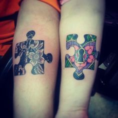 Me and hubby got a couples tattoo. Two puzzle pieces with a lock (for ...