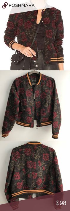 c0048776c89 NWT Sanctuary Red Rose Bomber Jacket Brand New with Tags Anthropologie  Sanctuary Bomber Jacket with a