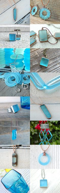 Upcycled Bombay Sapphire Gin Bottles by Kelly and Leslie Tiano of revetro || http://etsy.me/1MNx46y