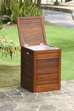 Small Solid Teak Laundry Hamper, or Indoor Outdoor Storage Bin by Aqua Art Teak, http://www.amazon.com/dp/B00355AS2C/ref=cm_sw_r_pi_dp_fqJarb0B8QN6X