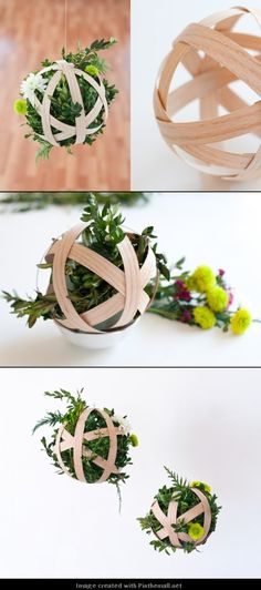 DIY Hanging Boxwood Pendant- We could use branches or even construction paper for the globe, a little hot glue, holiday ribbon, and some tree clippings voila! :)