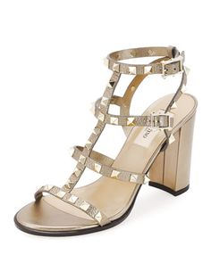 Rockstud Leather 90mm City Sandal, Skin by Valentino at Neiman Marcus.