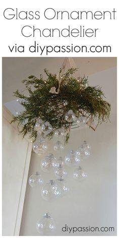 Clear Glass Ornament Chandelier via diypassion.com