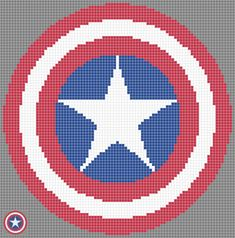 Third in the series of super hero pixel art/cross-stitch patterns. Took a fair bit of work to start with, but then ensuring the circles were correct got a bit easier, though the entire thing is sli. Cross Stitching, Cross Stitch Embroidery, Cross Stitch Patterns, Knitting Charts, Knitting Patterns, Pixel Art Templates, Templates Free, Marvel Cross Stitch, Mochila Crochet
