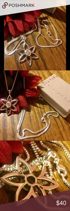 """Retired SILPADA Necklace SS FLOWER;Clear CZ Center Beautiful SILPADA 10.8g SS flower with 24"""" SS box chain. Clear CZ flower center. Excellent condition. Rarely worn. CLASSY PIECE. Silpada Jewelry Necklaces"""